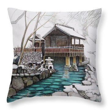Onsen Throw Pillow