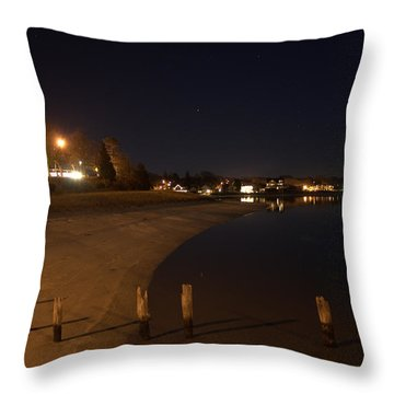 Throw Pillow featuring the photograph Onset Beach At Night by Greg DeBeck