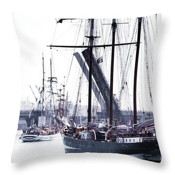 Throw Pillow featuring the photograph Oosterschelde Leaving Port by Stephen Mitchell