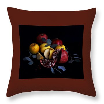 Opal Apples And Pomegranates Throw Pillow