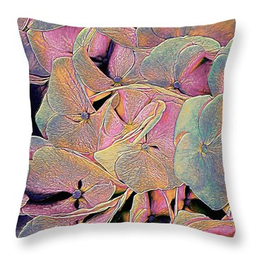 Throw Pillow featuring the mixed media Opal Hydrangea by Susan Maxwell Schmidt