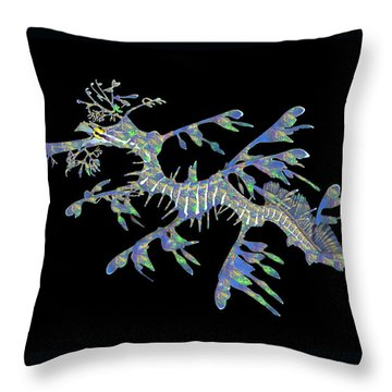 Opalised Sea Dragon Throw Pillow