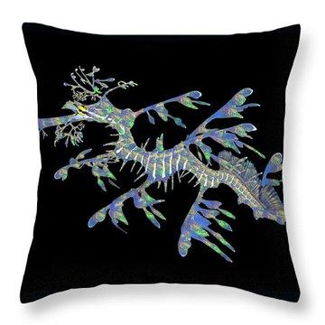 Opalised Sea Dragon Throw Pillow