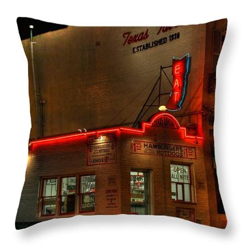 Open All Nite-texas Tavern Throw Pillow
