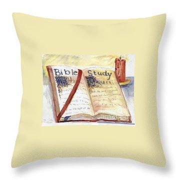 Open Bible Throw Pillow by Patricia Ducher
