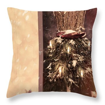 Open Door Into Christmas Throw Pillow