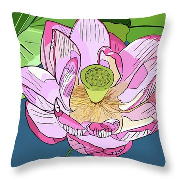 Open Lotus Throw Pillow