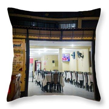 Open Restaurant In Lima, Peru Throw Pillow