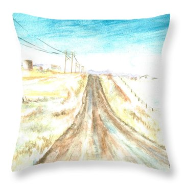 Throw Pillow featuring the painting Country Road by Andrew Gillette