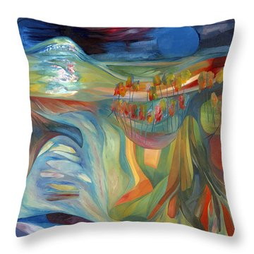 Throw Pillow featuring the painting Open To Receive The Light by Linda Cull