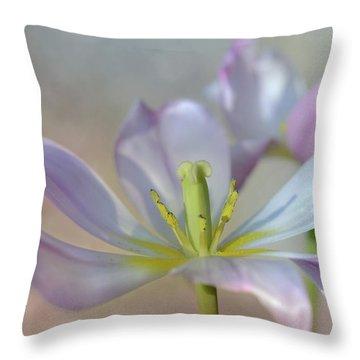 Throw Pillow featuring the photograph Open Tulip by Ann Bridges