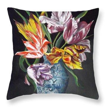 Open Tulips Throw Pillow