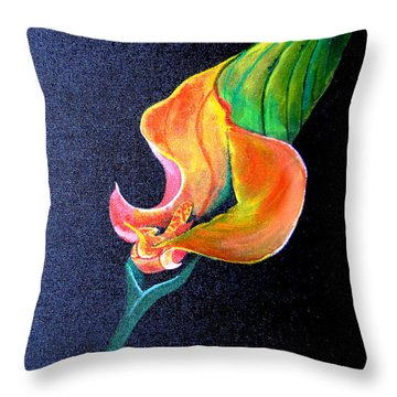 Throw Pillow featuring the painting Opening Cala Lily by Gary Smith