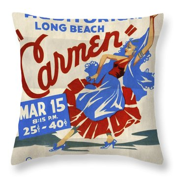 Opera Carmen In Long Beach - Vintage Poster Folded Throw Pillow