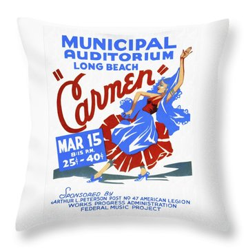 Opera Carmen In Long Beach - Vintage Poster Restored Throw Pillow