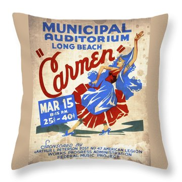 Opera Carmen In Long Beach - Vintage Poster Vintagelized Throw Pillow