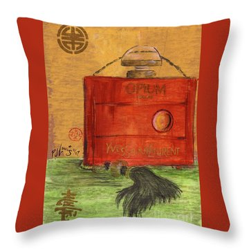 Throw Pillow featuring the painting Opium by P J Lewis