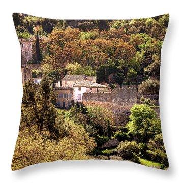 Oppede Le Vieux Landscape Throw Pillow by Olivier Le Queinec