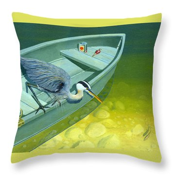 Opportunity-the Great Blue Heron Throw Pillow
