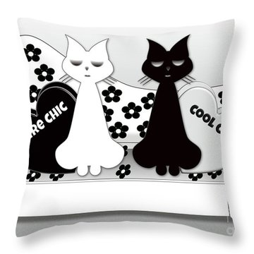Opposites Attract - Black And White Cats On The Sofa Throw Pillow