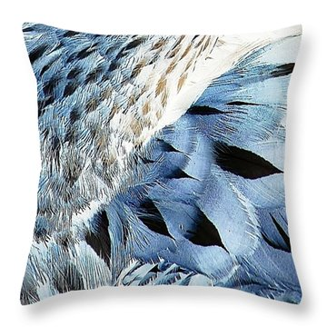 Blue Limpkin Throw Pillow