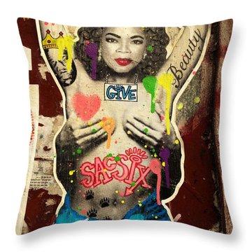 Oprah Winfrey Graffiti In New York  Throw Pillow