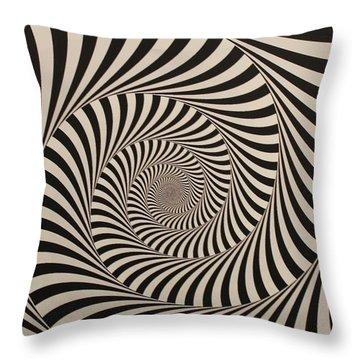 Optical Illusion Beige Swirl Throw Pillow