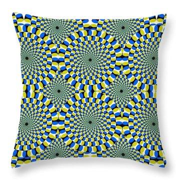 Optical Illusion Spinning Circles Throw Pillow