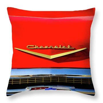 Orange '57 Chevy Throw Pillow