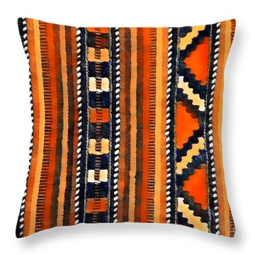 Orange Abstact Pattern Lines And Stripes Throw Pillow