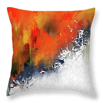 Throw Pillow featuring the painting Splashes At Sunset - Orange Abstract Art by Lourry Legarde