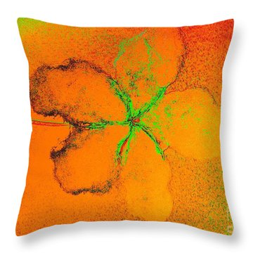 Orange Abstract Flower By Jasna Gopic Throw Pillow by Jasna Gopic