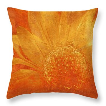 Throw Pillow featuring the digital art Orange Abstract Flower by Fine Art By Andrew David