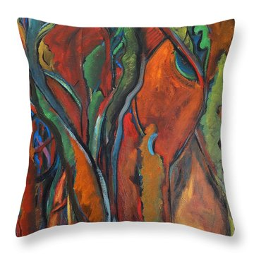 Orange Abstract Throw Pillow