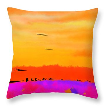 Orange Abstract Sunset Throw Pillow