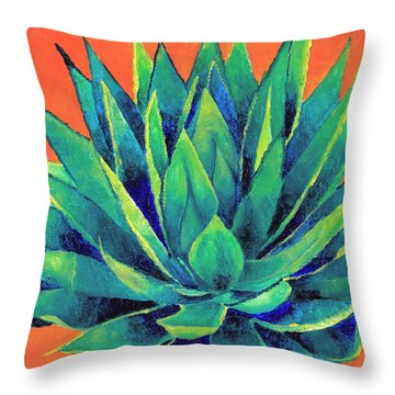 Orange And Agave Throw Pillow