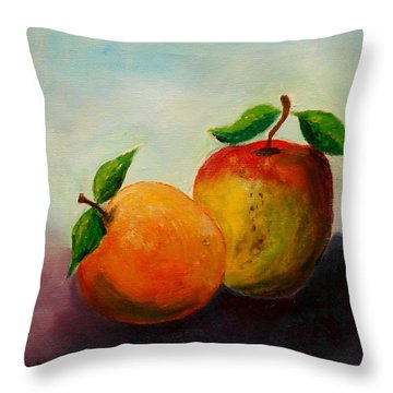 Apple And Orange Throw Pillow
