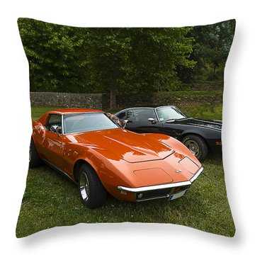 Throw Pillow featuring the photograph Orange And Black Vintage Cars by Enrico Pelos