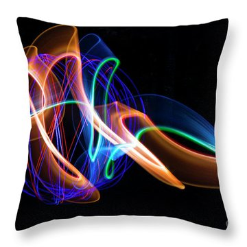 Orange And Blue Orb Throw Pillow