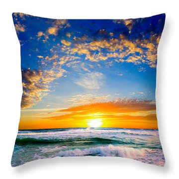 Orange And Blue Sunset Sun Setting Over The Ocean Throw Pillow