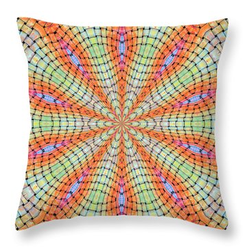 Throw Pillow featuring the digital art Orange And Green by Elizabeth Lock
