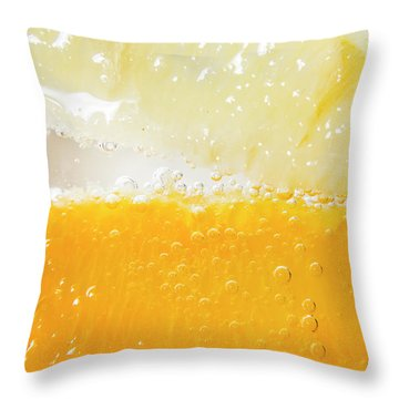 Orange And Lemon In Cocktail Glass Throw Pillow