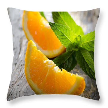 Orange And Mint Throw Pillow