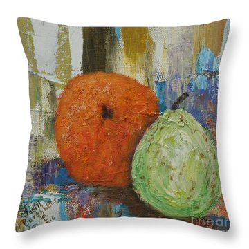 Orange And Pear Combo Throw Pillow by Judith Espinoza