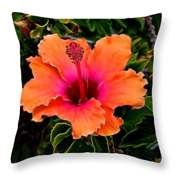 Orange And Pink Hibiscus 2 Throw Pillow