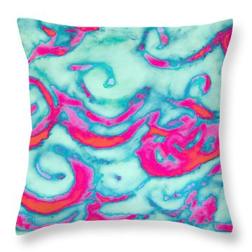 Orange And Pink Waves Throw Pillow