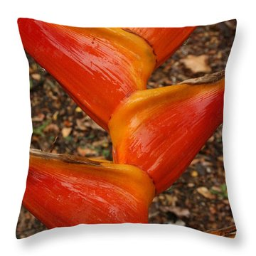 Orange And Red Haleconia Throw Pillow