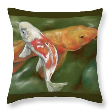 Orange And White Koi With Mossy Stones Throw Pillow