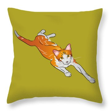 Orange And White Tabby Cat Throw Pillow by MM Anderson