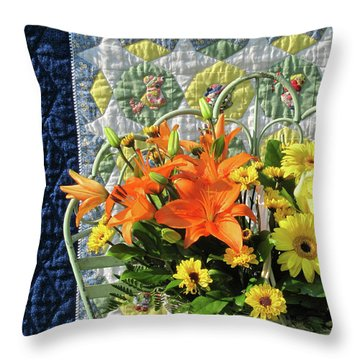 Throw Pillow featuring the photograph Orange And Yellow Delights by Nancy Lee Moran